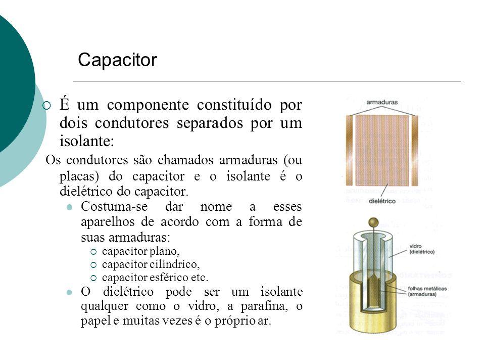 Capacitor É um componente constituído por dois condutores separados por um isolante: