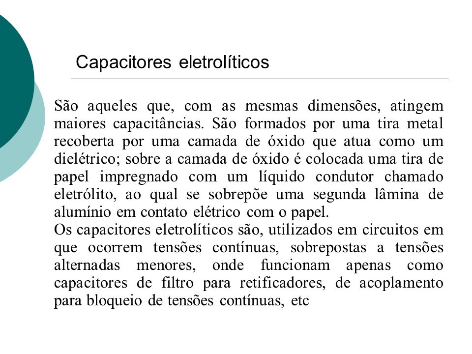 Capacitores eletrolíticos