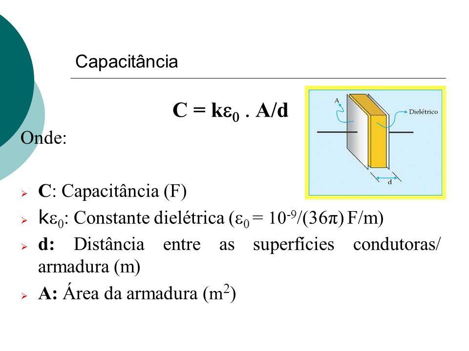 C = ke0 . A/d Onde: C: Capacitância (F)