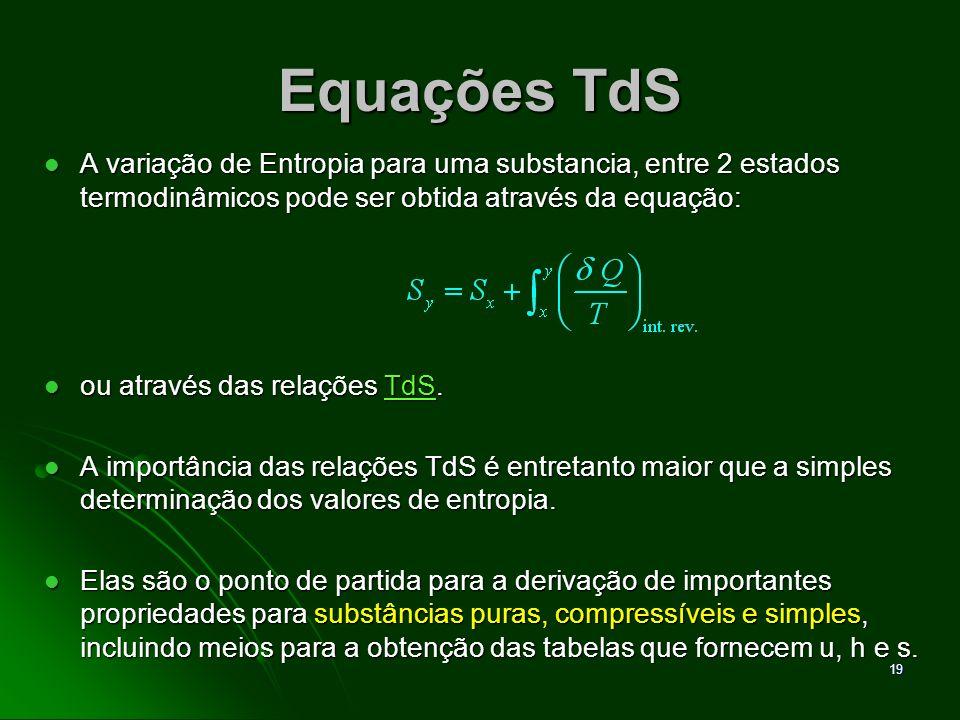 Equações TdS A variação de Entropia para uma substancia, entre 2 estados termodinâmicos pode ser obtida através da equação: