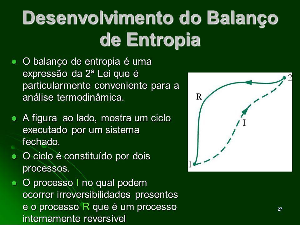 Desenvolvimento do Balanço de Entropia