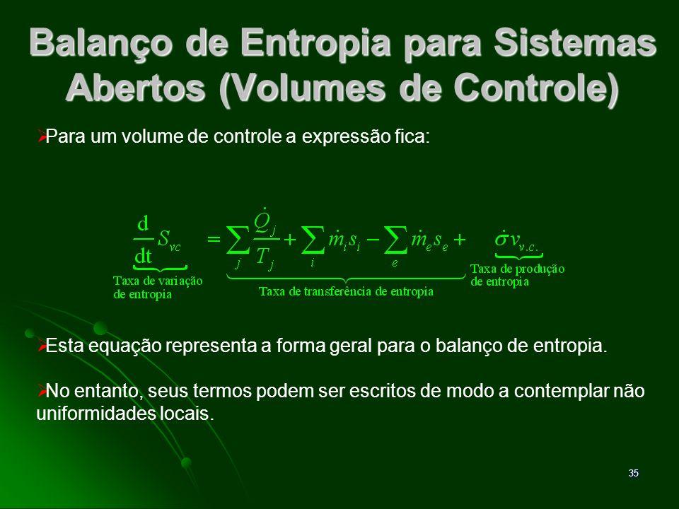 Balanço de Entropia para Sistemas Abertos (Volumes de Controle)