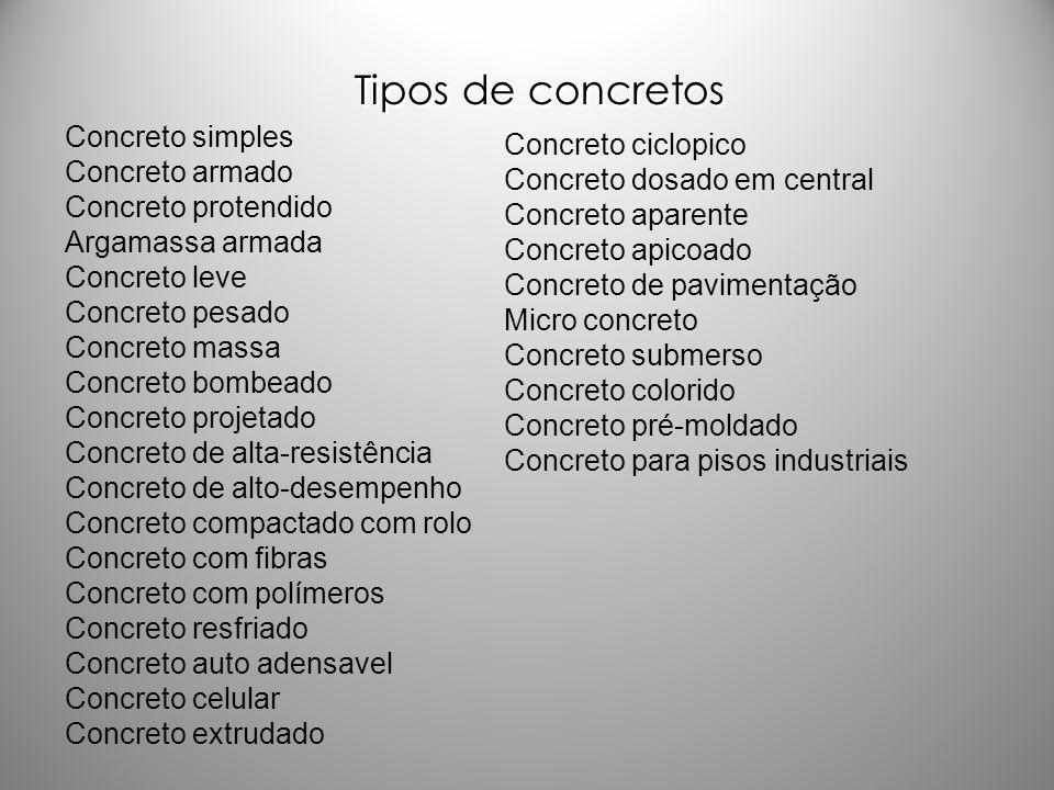Tipos de concretos Concreto simples Concreto ciclopico Concreto armado