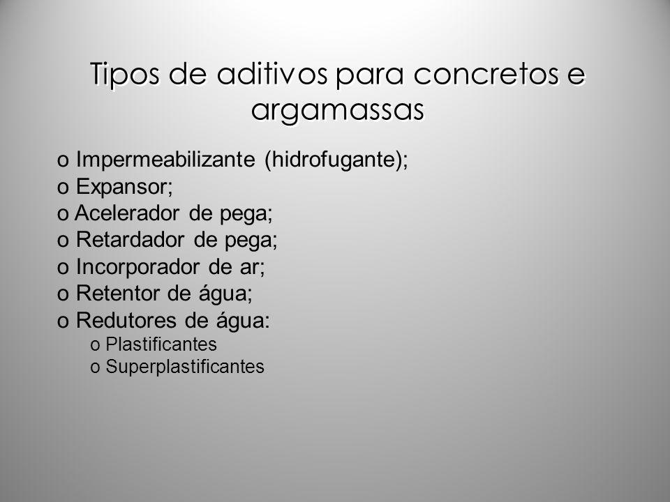 Tipos de aditivos para concretos e argamassas