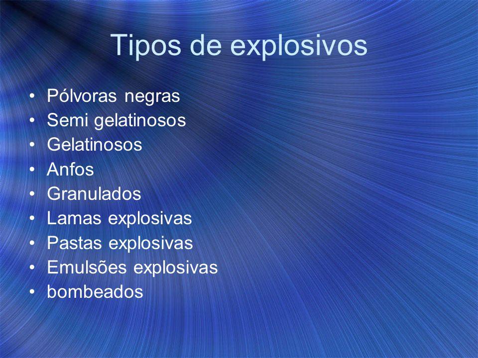 Tipos de explosivos Pólvoras negras Semi gelatinosos Gelatinosos Anfos