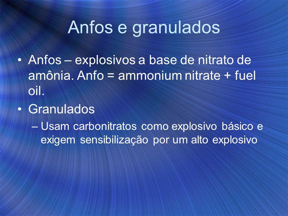 Anfos e granulados Anfos – explosivos a base de nitrato de amônia. Anfo = ammonium nitrate + fuel oil.