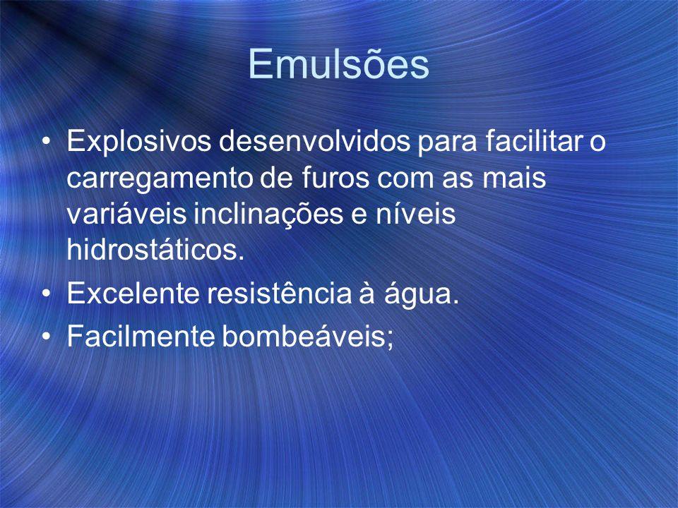 EmulsõesExplosivos desenvolvidos para facilitar o carregamento de furos com as mais variáveis inclinações e níveis hidrostáticos.