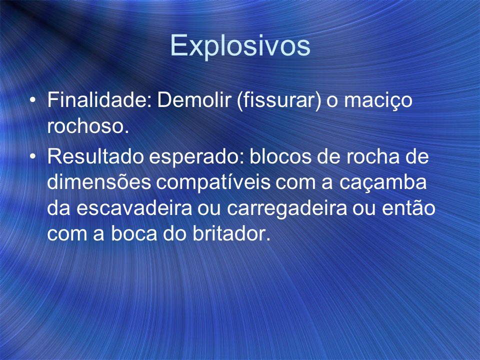 Explosivos Finalidade: Demolir (fissurar) o maciço rochoso.