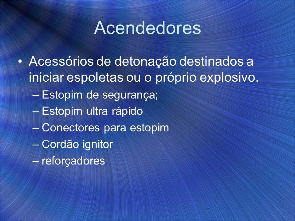 Acendedores Acessórios de detonação destinados a iniciar espoletas ou o próprio explosivo. Estopim de segurança;