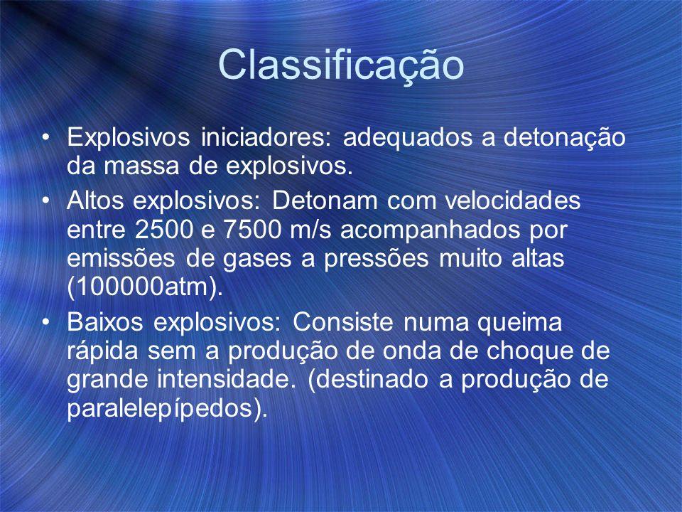 Classificação Explosivos iniciadores: adequados a detonação da massa de explosivos.