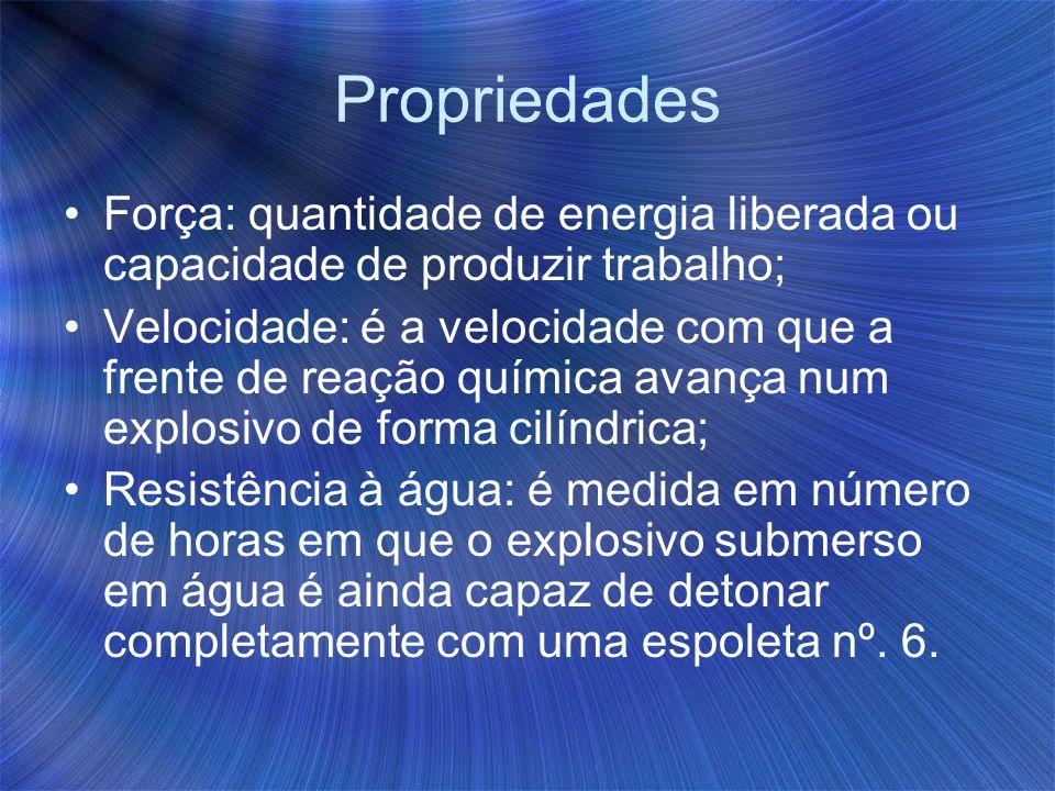 Propriedades Força: quantidade de energia liberada ou capacidade de produzir trabalho;