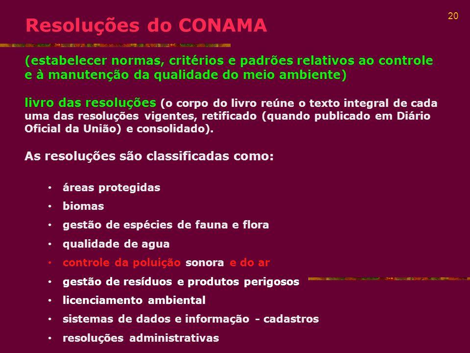 Resoluções do CONAMA (estabelecer normas, critérios e padrões relativos ao controle e à manutenção da qualidade do meio ambiente)