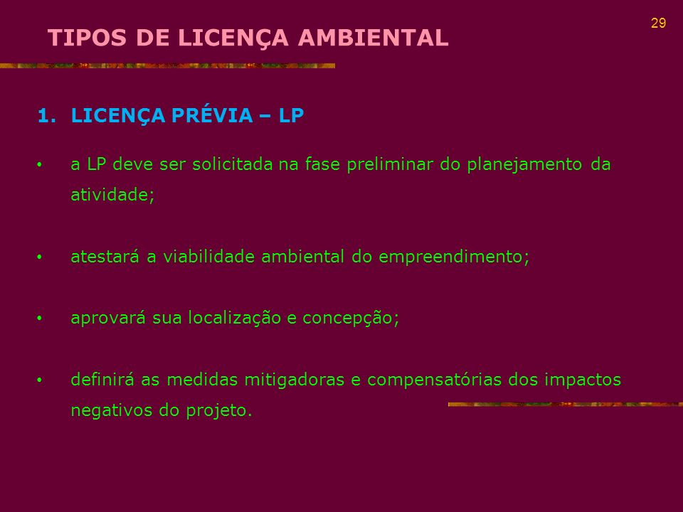 TIPOS DE LICENÇA AMBIENTAL