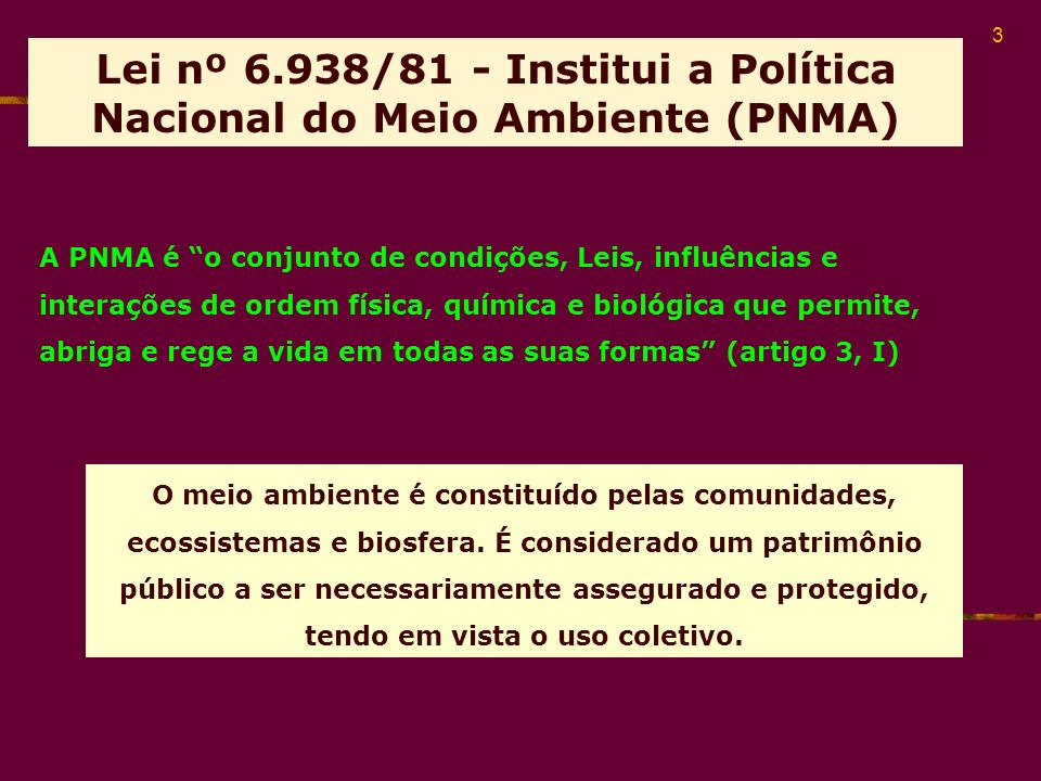 Lei nº 6.938/81 - Institui a Política Nacional do Meio Ambiente (PNMA)