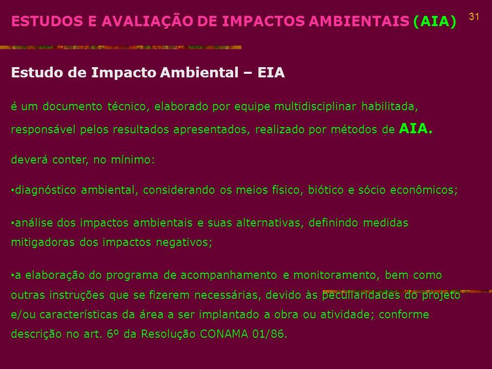 ESTUDOS E AVALIAÇÃO DE IMPACTOS AMBIENTAIS (AIA)