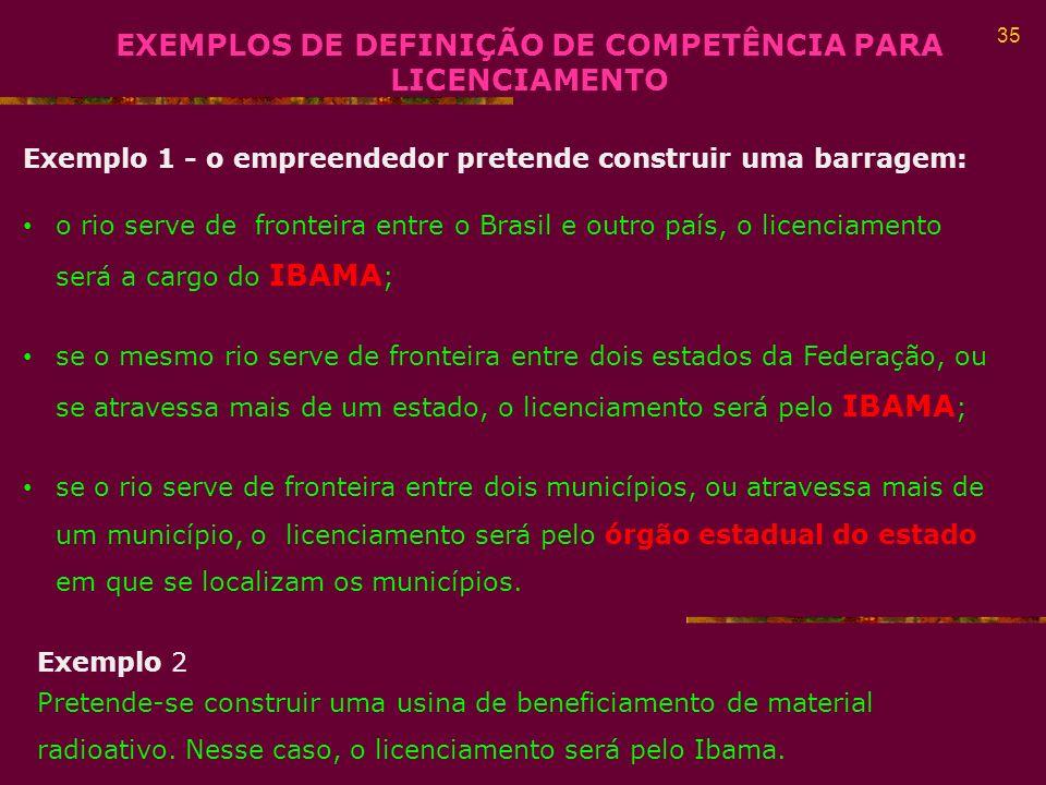 EXEMPLOS DE DEFINIÇÃO DE COMPETÊNCIA PARA LICENCIAMENTO