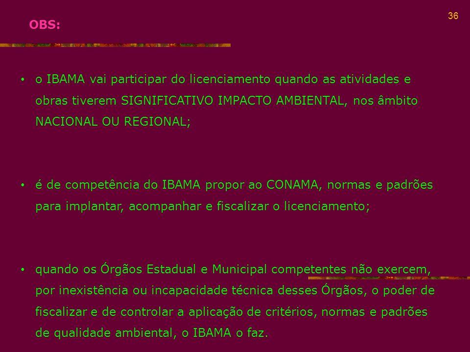 OBS: o IBAMA vai participar do licenciamento quando as atividades e obras tiverem SIGNIFICATIVO IMPACTO AMBIENTAL, nos âmbito NACIONAL OU REGIONAL;