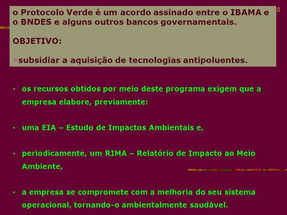 subsidiar a aquisição de tecnologias antipoluentes.