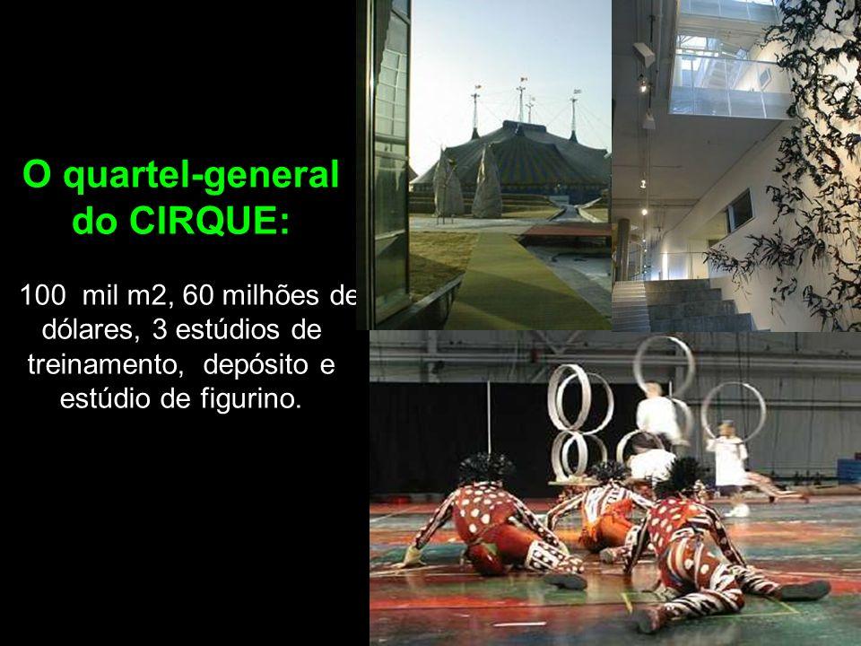 O quartel-general do CIRQUE: 100 mil m2, 60 milhões de dólares, 3 estúdios de treinamento, depósito e estúdio de figurino.