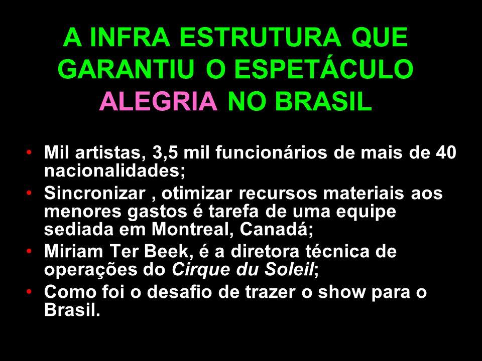 A INFRA ESTRUTURA QUE GARANTIU O ESPETÁCULO ALEGRIA NO BRASIL