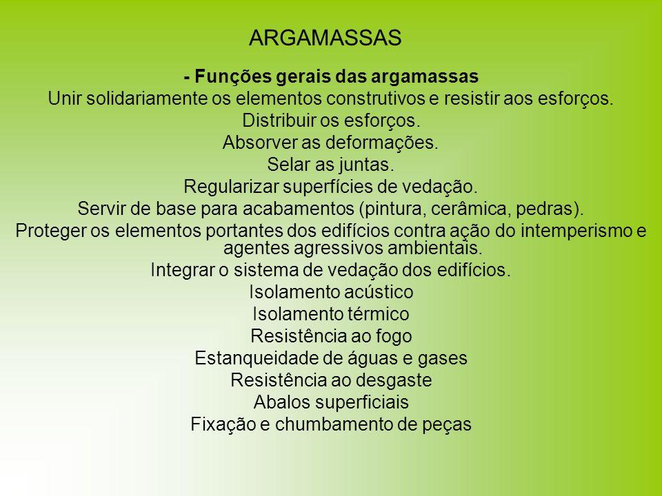 ARGAMASSAS - Funções gerais das argamassas