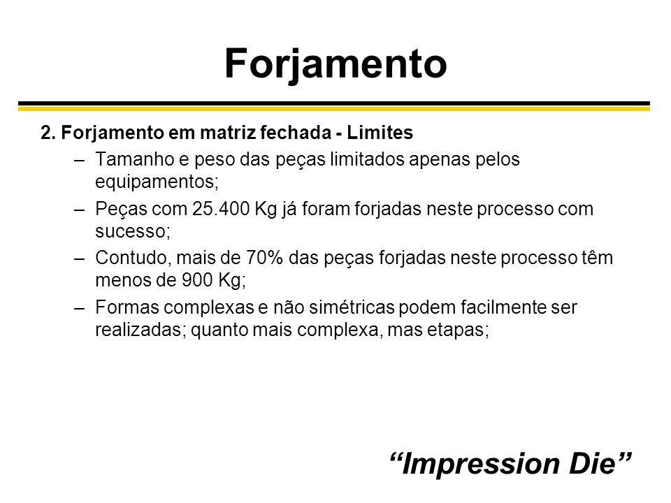 Forjamento Impression Die 2. Forjamento em matriz fechada - Limites