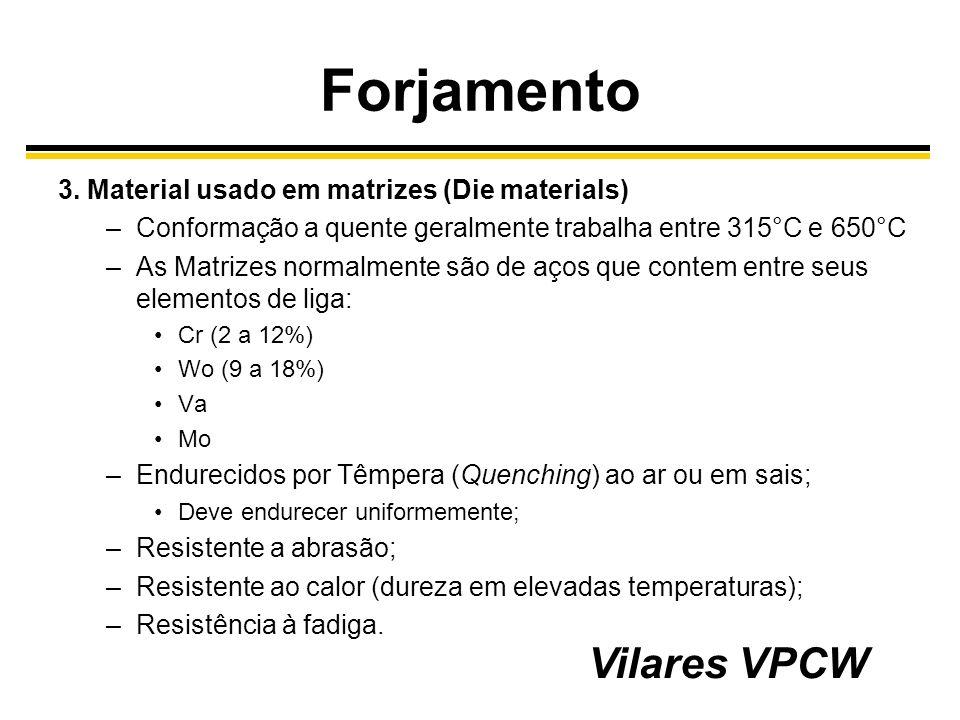 Forjamento Vilares VPCW 3. Material usado em matrizes (Die materials)