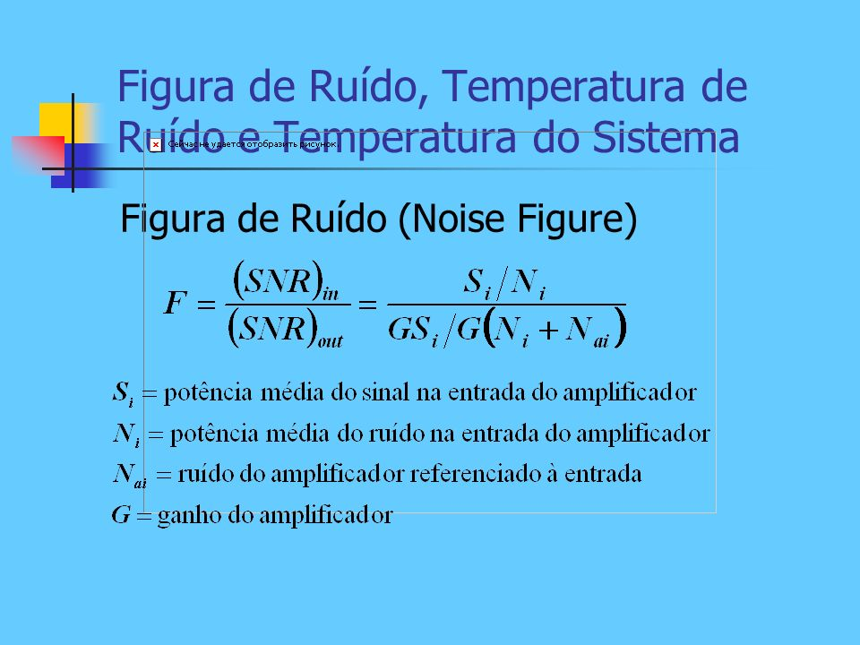 Figura de Ruído, Temperatura de Ruído e Temperatura do Sistema