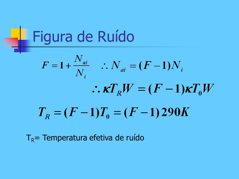 Figura de Ruído TR= Temperatura efetiva de ruído