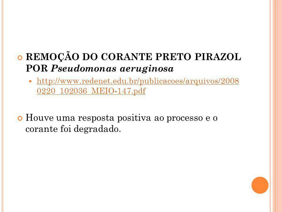 REMOÇÃO DO CORANTE PRETO PIRAZOL POR Pseudomonas aeruginosa