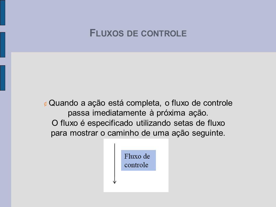 FLUXOS DE CONTROLE passa imediatamente à próxima ação.
