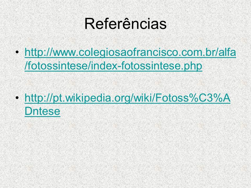 Referências http://www.colegiosaofrancisco.com.br/alfa/fotossintese/index-fotossintese.php.