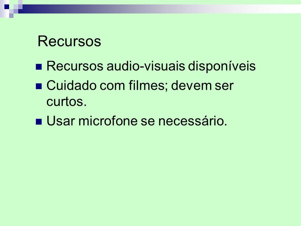 Recursos Recursos audio-visuais disponíveis