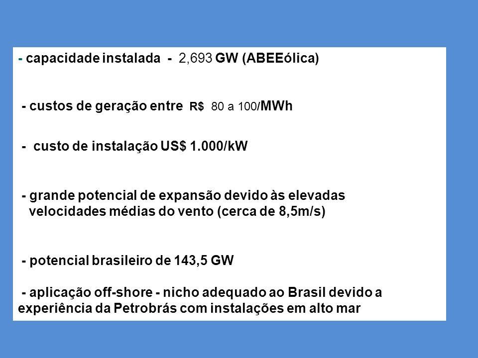 - capacidade instalada - 2,693 GW (ABEEólica) - custos de geração entre R$ 80 a 100/MWh