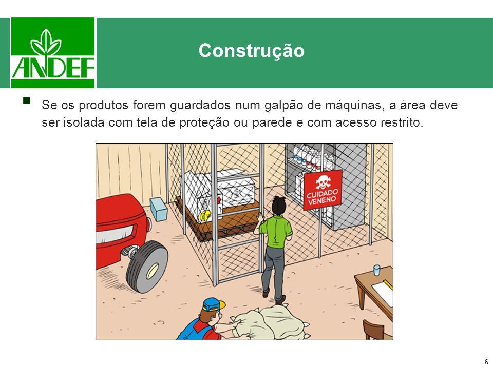 Construção Se os produtos forem guardados num galpão de máquinas, a área deve ser isolada com tela de proteção ou parede e com acesso restrito.