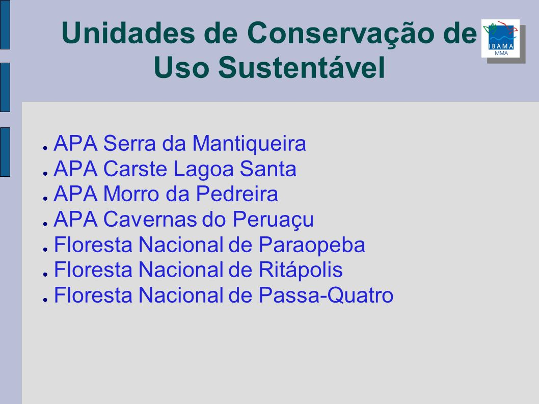Unidades de Conservação de Uso Sustentável