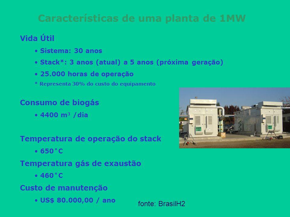 Características de uma planta de 1MW