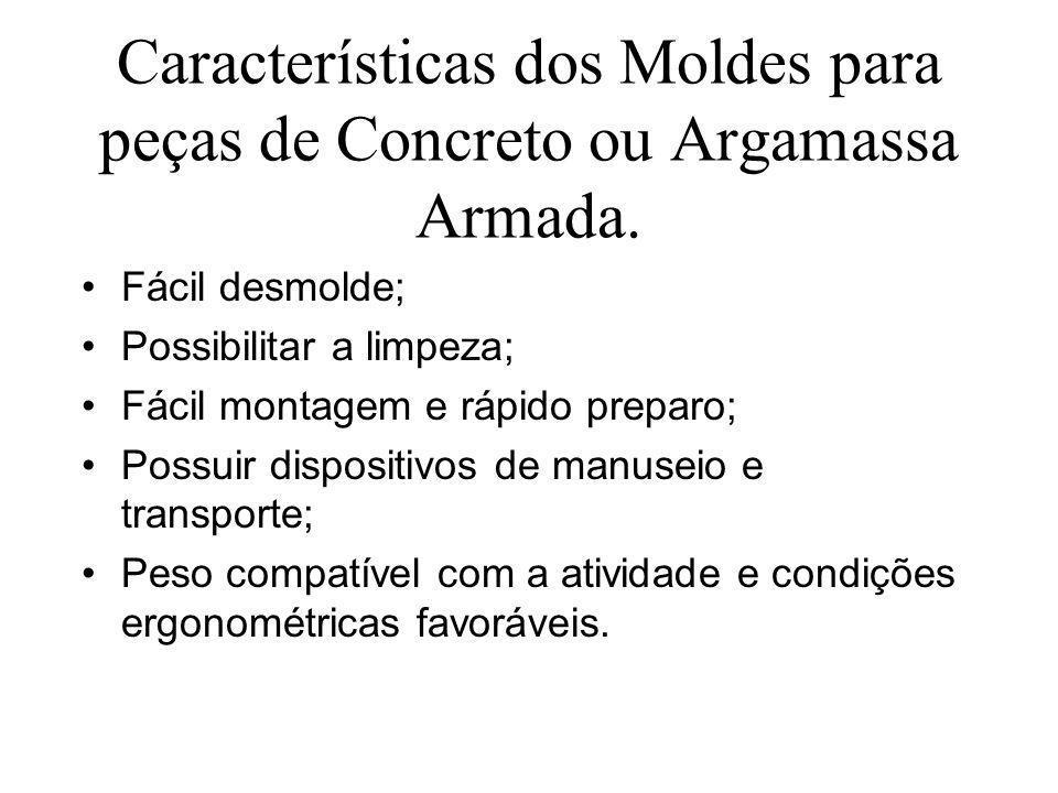 Características dos Moldes para peças de Concreto ou Argamassa Armada.