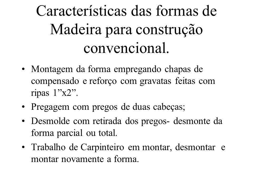 Características das formas de Madeira para construção convencional.