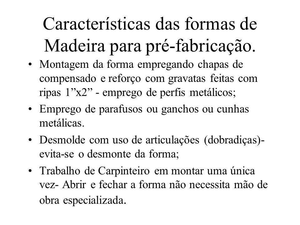Características das formas de Madeira para pré-fabricação.