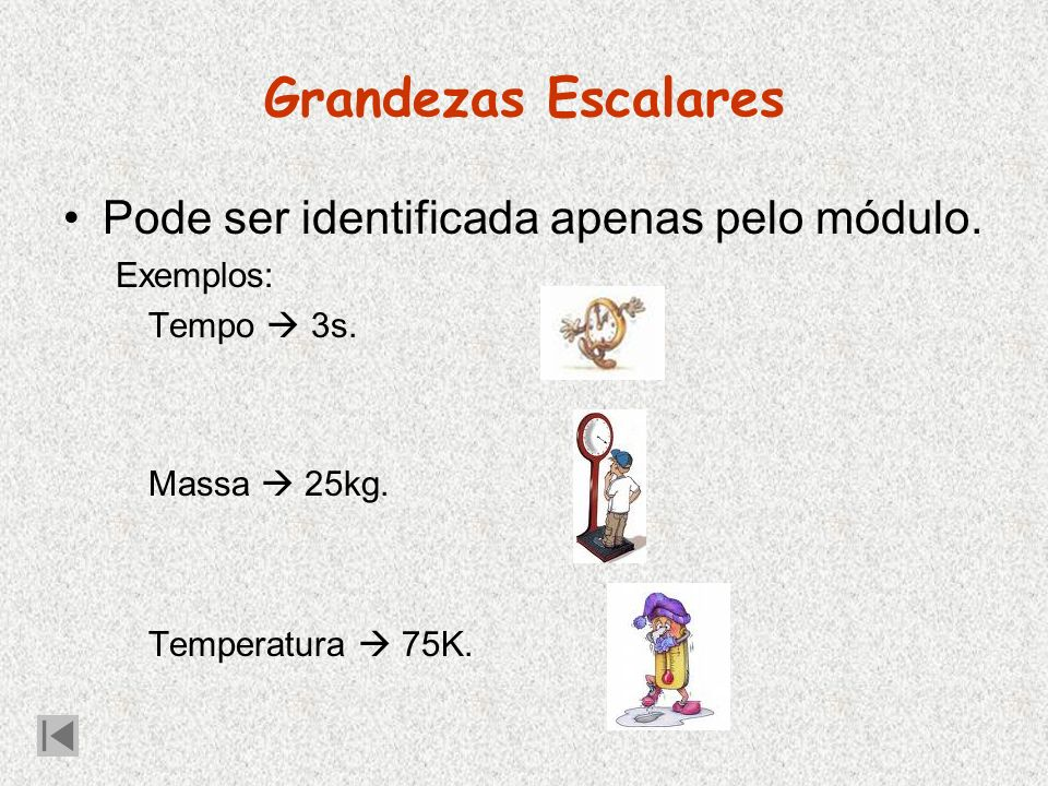 Grandezas Escalares Pode ser identificada apenas pelo módulo.
