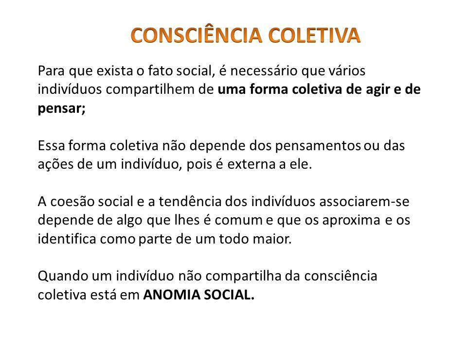 CONSCIÊNCIA COLETIVA Para que exista o fato social, é necessário que vários indivíduos compartilhem de uma forma coletiva de agir e de pensar;