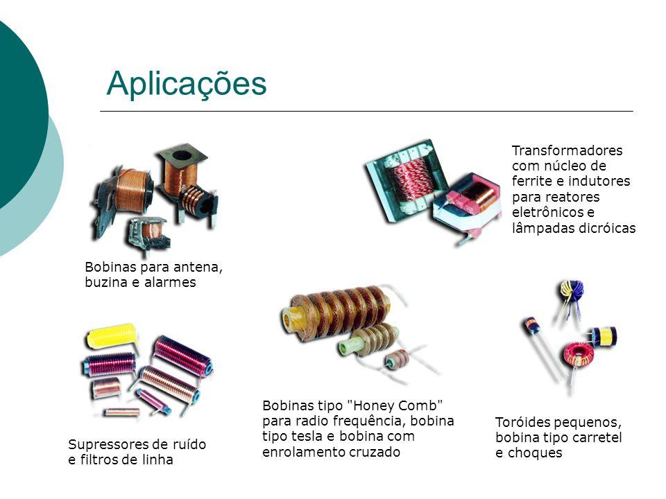 Aplicações Transformadores com núcleo de ferrite e indutores para reatores eletrônicos e lâmpadas dicróicas.