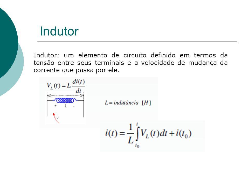 Indutor Indutor: um elemento de circuito definido em termos da tensão entre seus terminais e a velocidade de mudança da corrente que passa por ele.