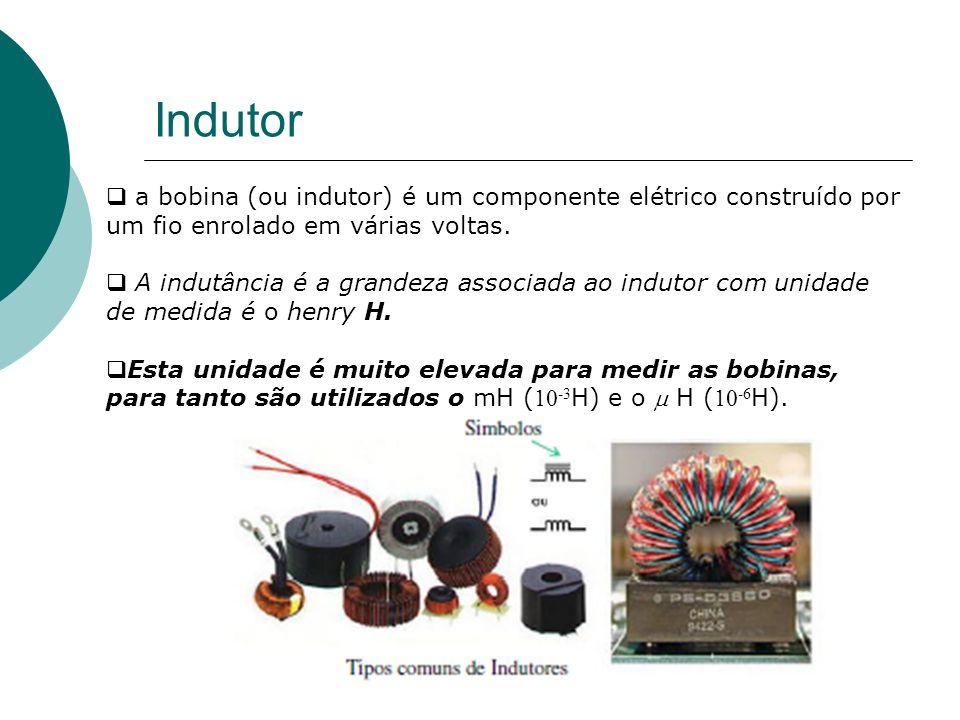 Indutor a bobina (ou indutor) é um componente elétrico construído por um fio enrolado em várias voltas.