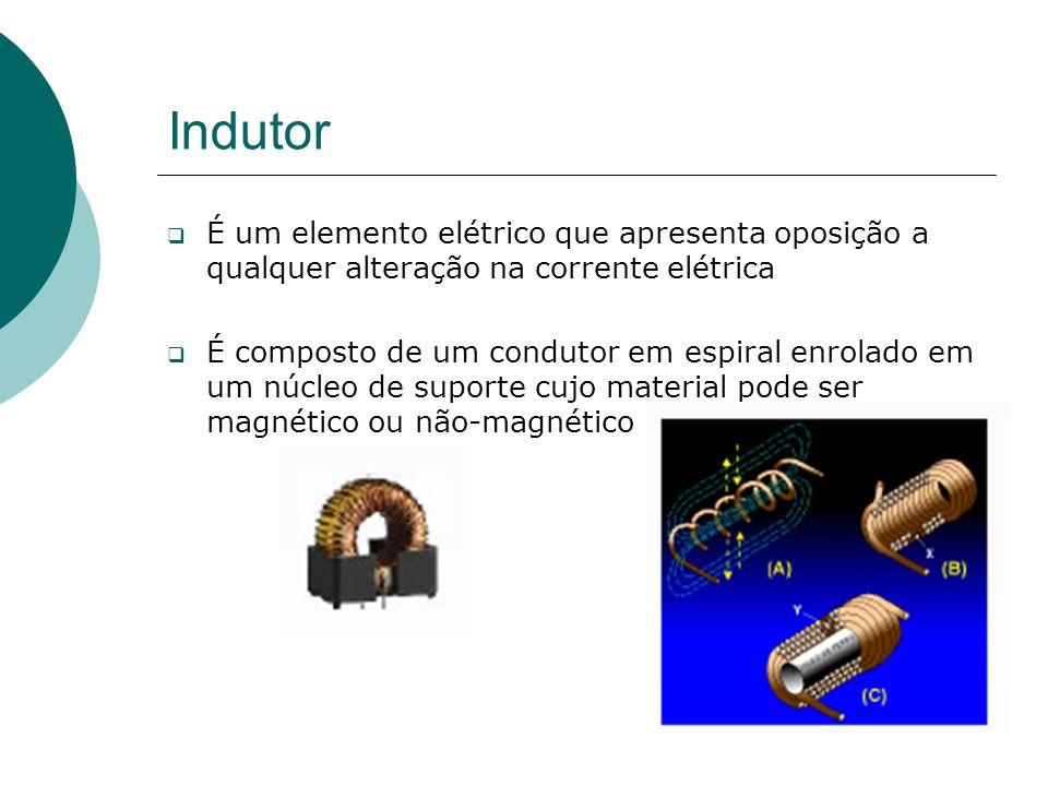 Indutor É um elemento elétrico que apresenta oposição a qualquer alteração na corrente elétrica.