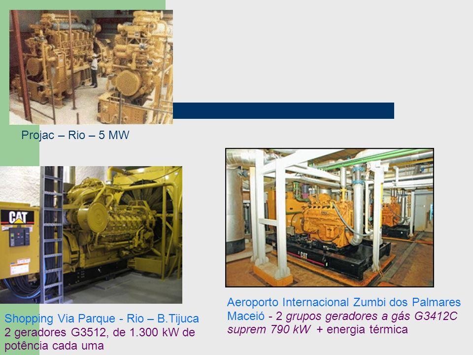 Projac – Rio – 5 MW Aeroporto Internacional Zumbi dos Palmares Maceió - 2 grupos geradores a gás G3412C suprem 790 kW + energia térmica.