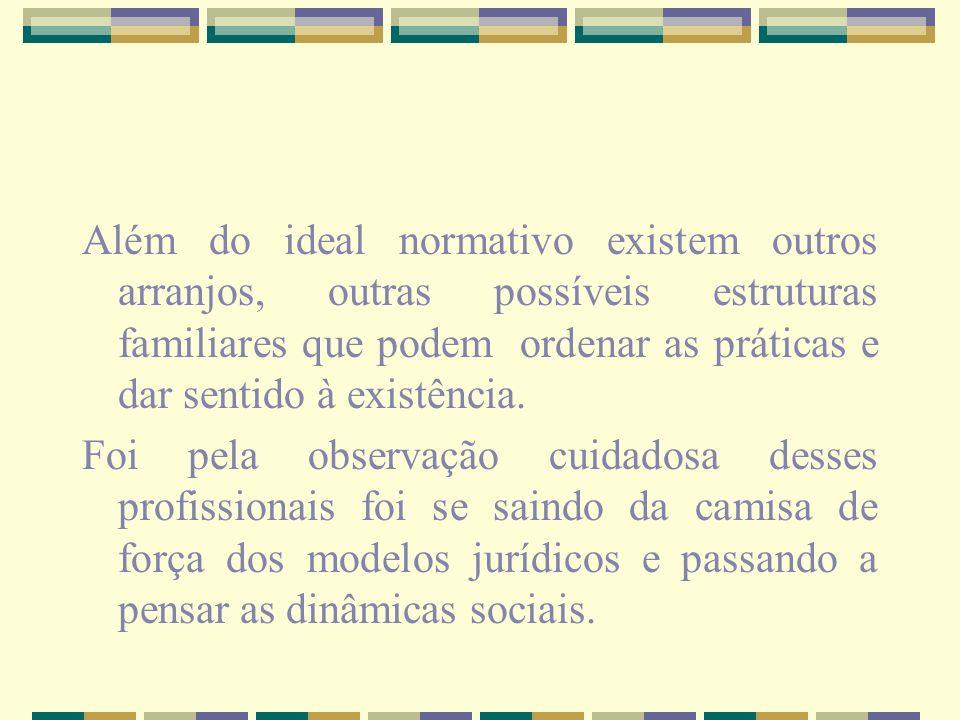 Além do ideal normativo existem outros arranjos, outras possíveis estruturas familiares que podem ordenar as práticas e dar sentido à existência.