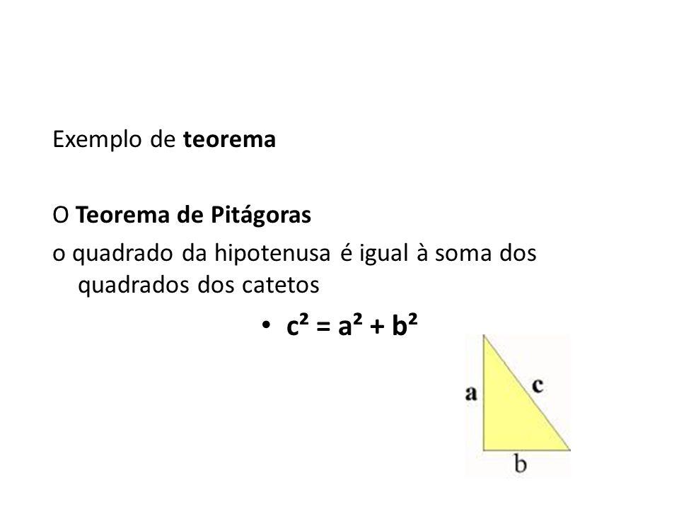c² = a² + b² Exemplo de teorema O Teorema de Pitágoras