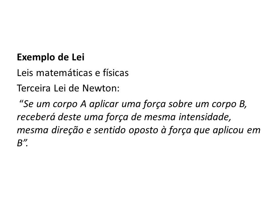 Exemplo de Lei Leis matemáticas e físicas. Terceira Lei de Newton: